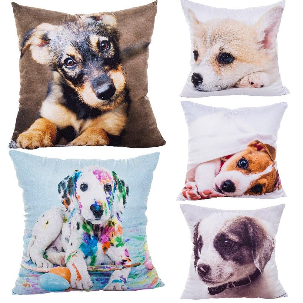 Cute puppy Dog Polyester Throw Pillow Case French Bulldog Decorative Pillows For Sofa Car Seat Cushion Cover 43x43cm Home Decor