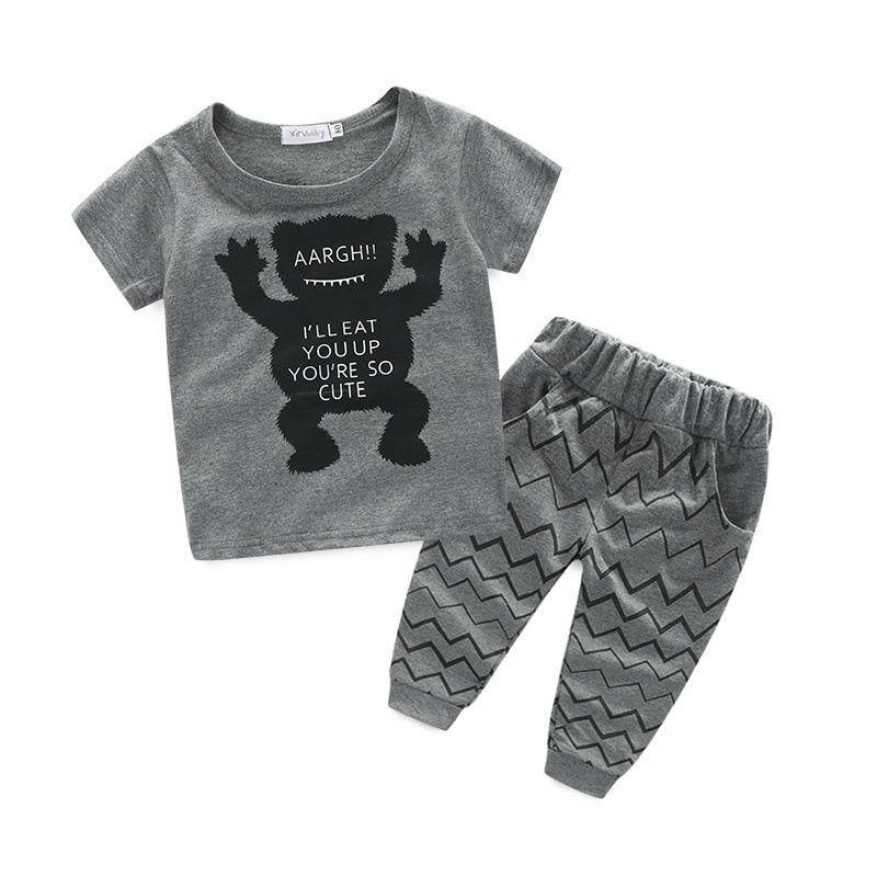 Jongenskleding Zomer 2017 Nieuwe dierenfoto jongenskleding Set - Babykleding