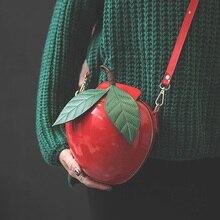 Cute fashion persönlichkeit apple form red & green party schultertasche handtasche damen handtasche klappe crossbody umhängetasche