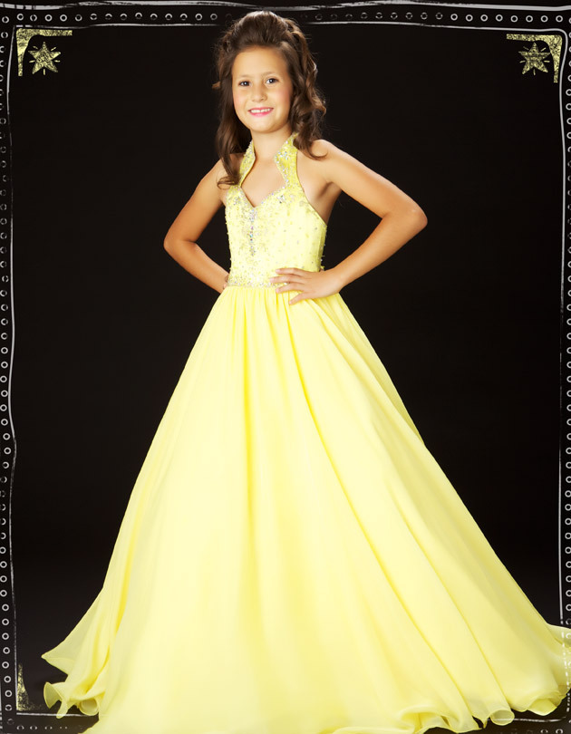 Free Shipping Yellow Beaded   Flower     Girl     Dresses   Pageant Party   Dress   Backless Zipper Back Kids Evening Gown 42541S