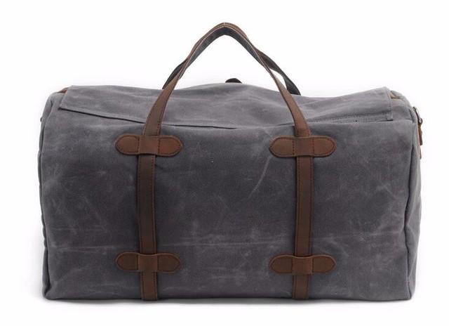 Vintage Wax Canvas Luggage bag Men Travel Bags Carry on Large Men Duffel Bags shoulder Weekend bag Overnight  Big tote Handbag