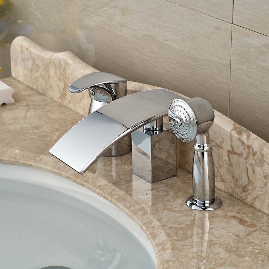 Wholesale And Retail Polished Chrome Deck Mounted Waterfall Bathroom Tub Faucet Ceramic Valve Diverter Mixer Tap W/ Hand Shower wholesale and retail promotion elegant deck mounted shower faucet waterfall tub spout mixer tap diverter faucet