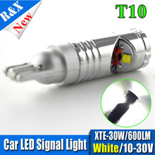 2pcs T10 600LM led 10-30V High Power 30W XTE Pure White Plate Interior 194/501 W5W car Bulbs Light Lamp parking car light source