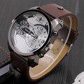 Новые мужские роскошные часы, мода кожаный ремешок кварцевые часы мужчины dual time zone 2016 марка повседневная мода часы браслет