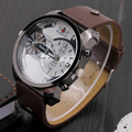 Novo luxo dos homens relógios, pulseira de couro moda quartzo homens relógio dual time zona 2016 marca moda casual pulseira de relógio