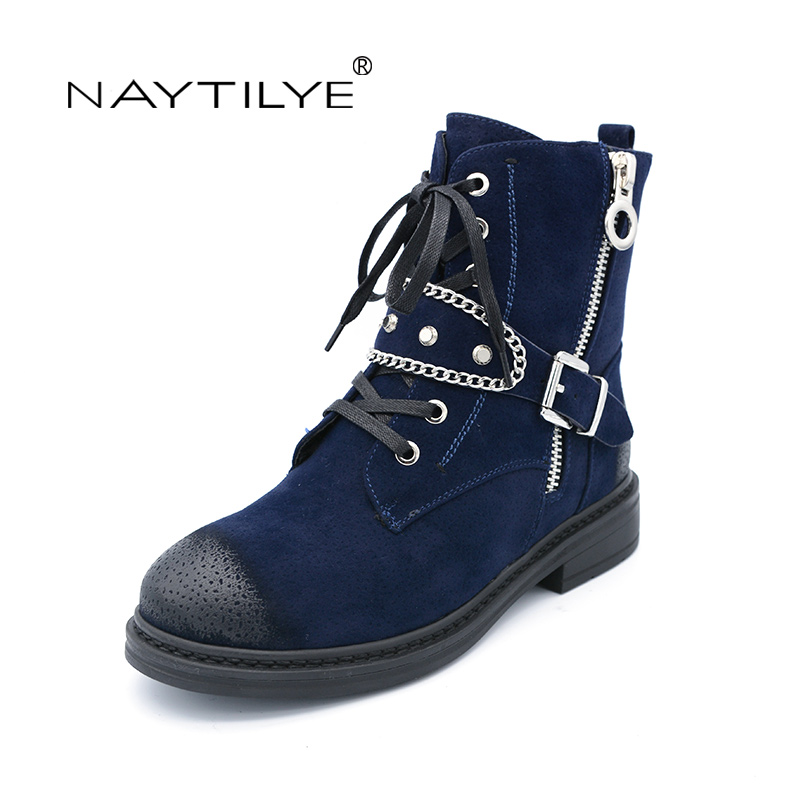 Фотография NATILYE PU eco leather shoes woman ankle warm winter boots women motorcycle zip round toe nature wool black blue red size 36-40