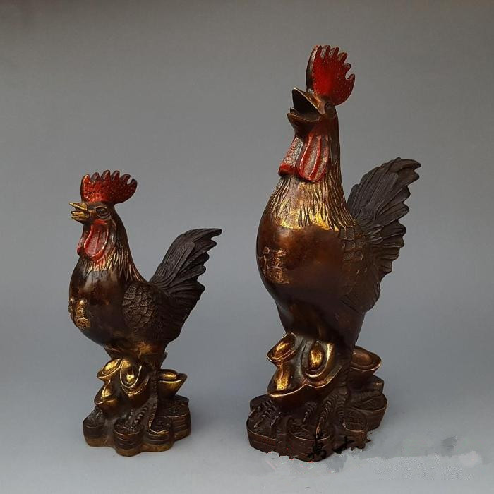 Antique copper gilt three big cock Home Furnishing decoration craft gift collection of antique bronzeAntique copper gilt three big cock Home Furnishing decoration craft gift collection of antique bronze