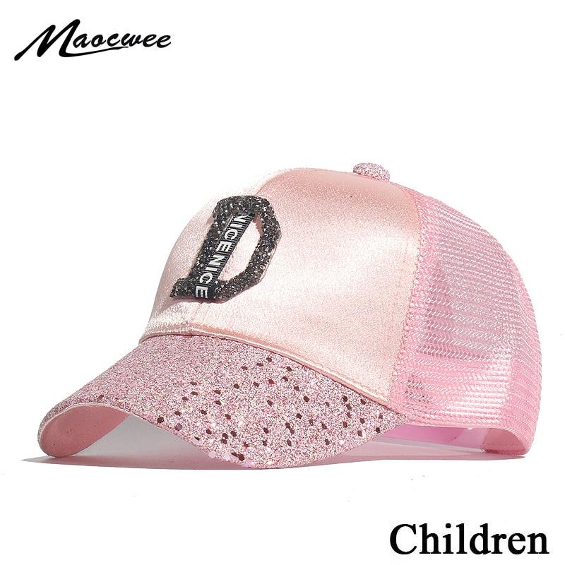 d8d7bcd57 2019 New Children Hip Hop Baseball Cap Rhinestone Summer Kids Sun Hat A D R  Letters Mesh Boys Girls Snapback Diamond Caps