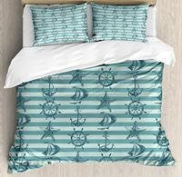 Duvet Cover Set, Retro Marine Pattern with Ship Wheel Anchor and Starfish on Striped Background, 4 Piece Bedding Set