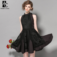 Spring Summer Runway Designer Womans Dress Black Red Ball Gown Hollow Out Back High Quality Lace