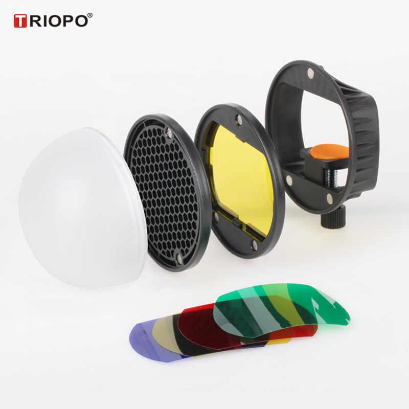 TRIOPO MagDome צבע מסנן, רפלקטור, חלת דבש, מפזר כדור ערכות עבור GODOX tt600 TT685 V860II YN560III/IV פלאש VS AK-R1