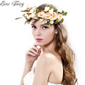 EVER FAIRY Women Rose flower Forehead Hair Wedding Floral Garlands With Ribbon Adjustable Girls Flower Crown Women Flower Wreath