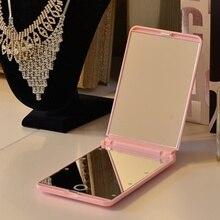 LED Lights Lamps Makeup Mirror Folding Portable Compact Pocket Hand Mirror Cosmetic Makeup with Lights Iluminador