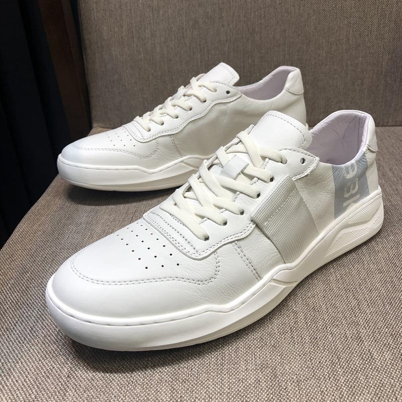 Sneakers Blanches Mens Hommes allumette Bottes Véritable De Vache Loisirs Automne Designer Mode Cuir D'été Blanc Chaussures Printemps Tout 80wOXPkn