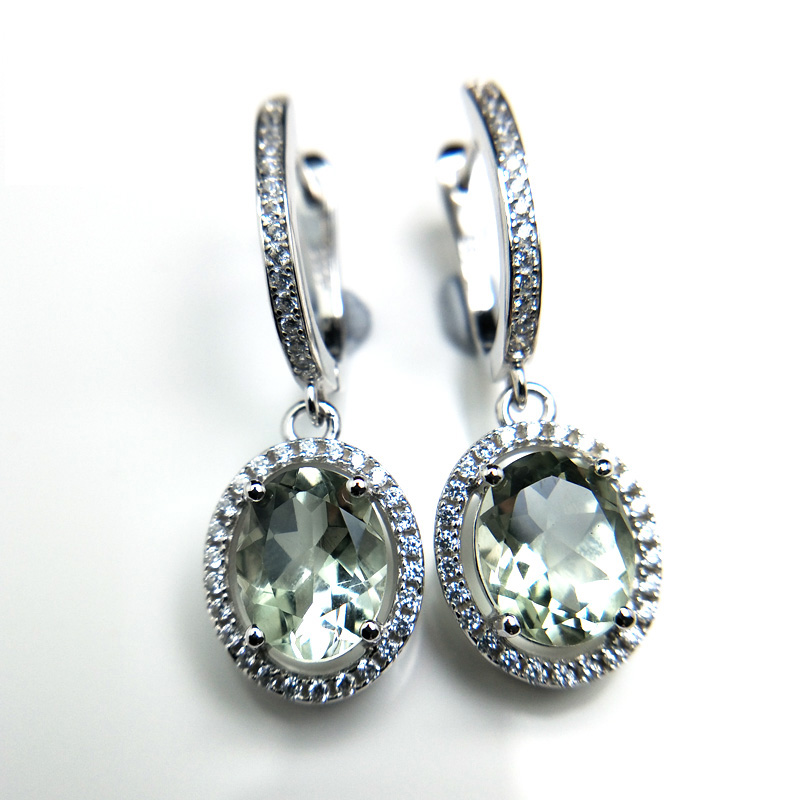 TBJ drop clasp earrings with natural green amethyst prasiolite gemstone 925 sterling silver fine jewelry for