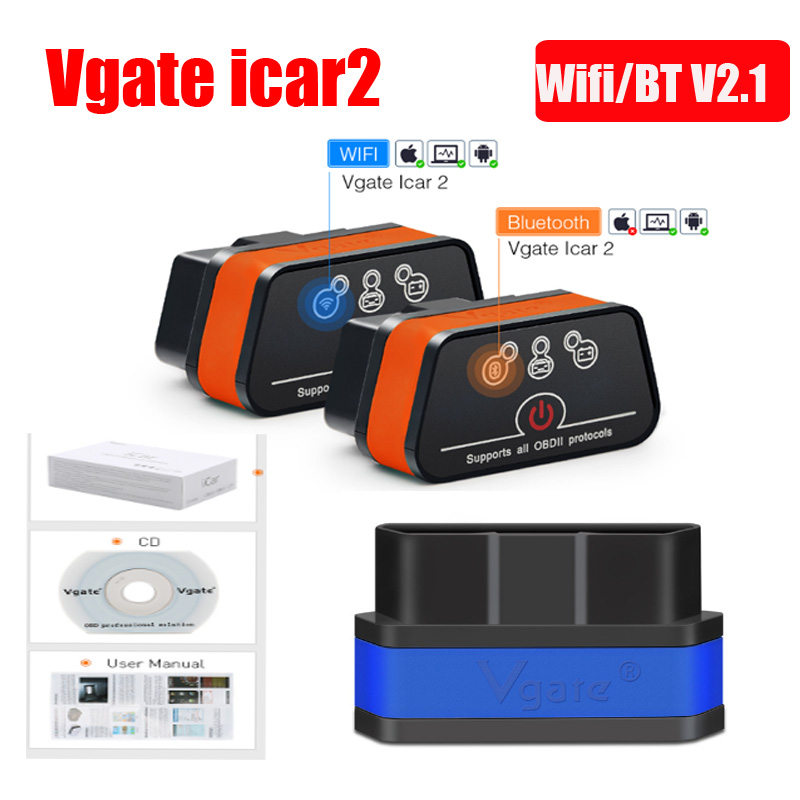 Car Repair Tools Automobiles & Motorcycles Vgate Icar 2 Elm327 Wifi/bluetooth Obd2 Diagnostic Tool For Ios Android Icar2 On Obd2 Obd Ii Protocol Fw V1.5 Code Reader Spare No Cost At Any Cost