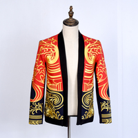New Mens Spring and Autumn Coats Men Fashion Casual luxury gold embroidery robes jackets Blazer stage performance clothing S XXL