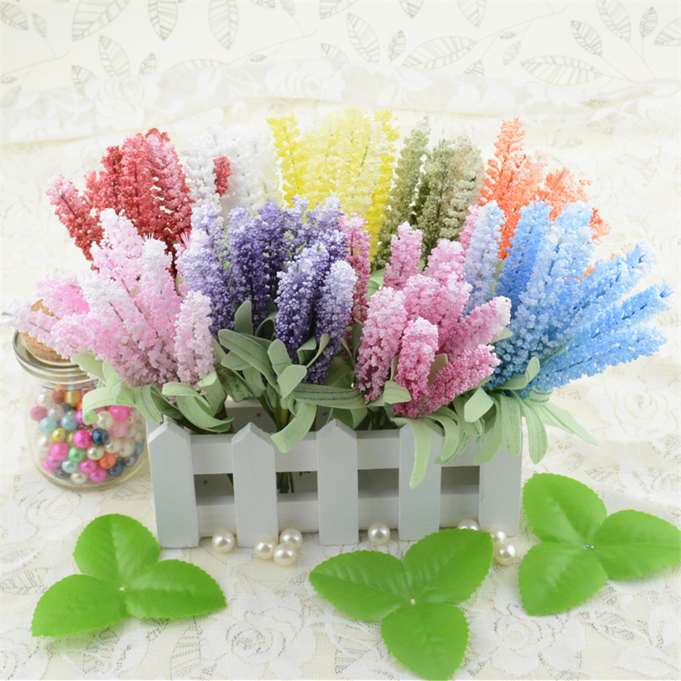 10pcs foam lavender artificial flower bouquet for wedding for Artificial flowers for wedding decoration