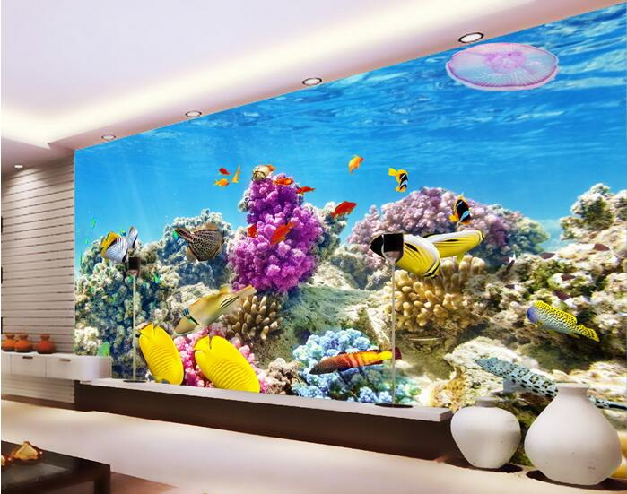 Buy 3d room wallpaper custom mural non for Aquarium mural gifi