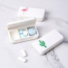 1 pc パターンプラスチックピルボックスポータブル医療ビタミン薬箱 3 グリッド収納