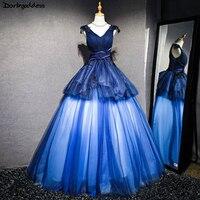 Халат де mariée настоящая фотография Королевский синий бальное платье свадебное платье 2018 этаж Длина длинные кружевные аппликации Свадебная
