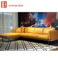 Новый итальянский современный секционный натуральная наппа мягкая кожа диван мебель желтый и черный 3 местный + шезлонг