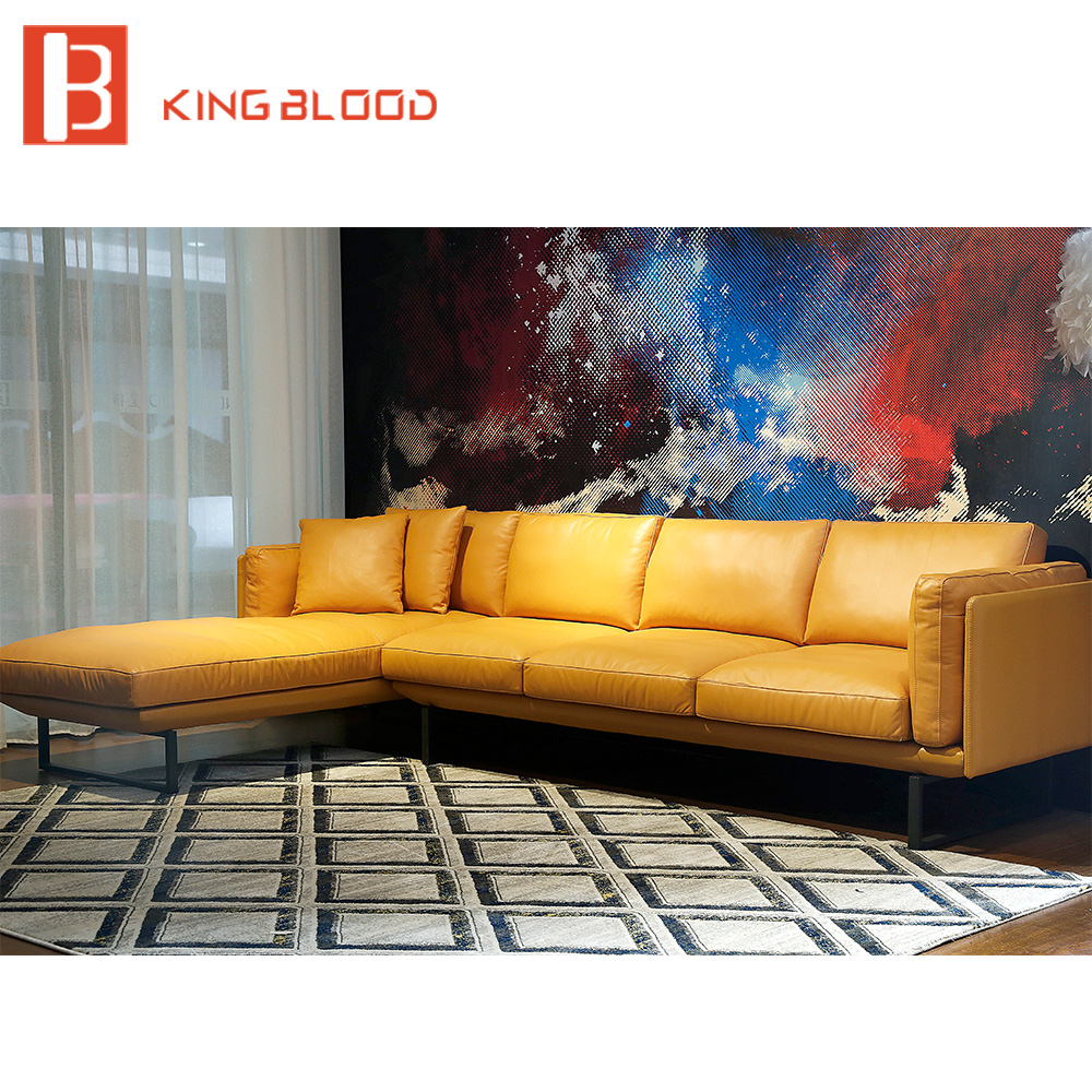 Yellow, And, Sofa, Nappa, Leather, Sectional