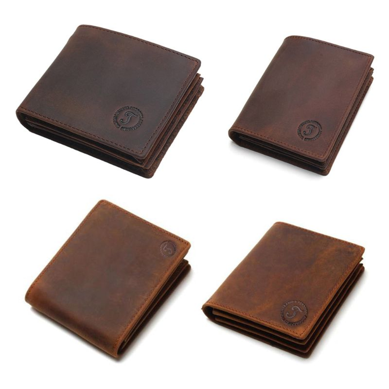 9.3x11.3x2cm Fashion Men's Bifold Leather Wallet RFID Blocking ID Credit Card Holder Billfold Purse Clutch