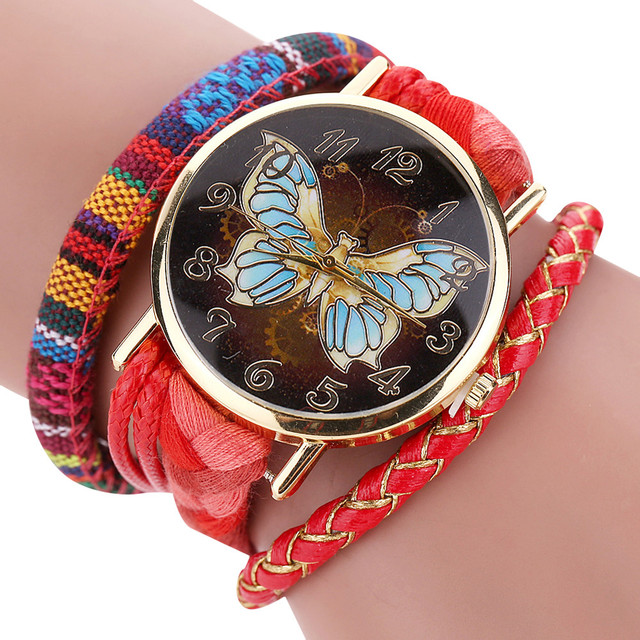 High Quality Hot Women Sleek Stylish And Chic Knit Bracelet Butterfly Bracelet Watch Relogio Masculino