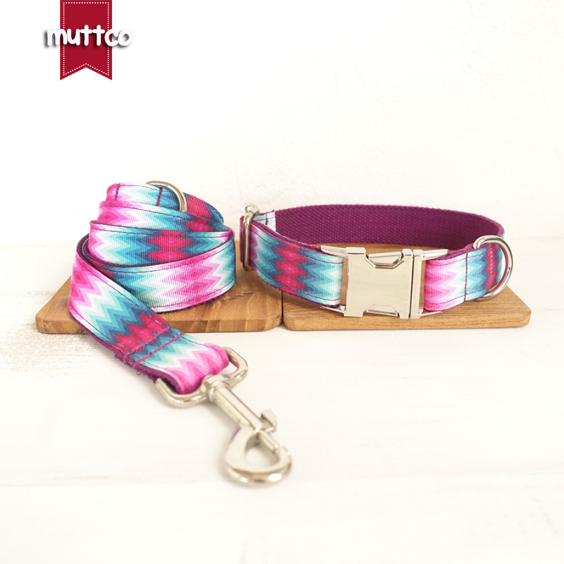 MUTTCO retailing special self-designed dog accessories THE PURPLE PEACOCK colorful dog collars and leashes set 5 sizes UDC009