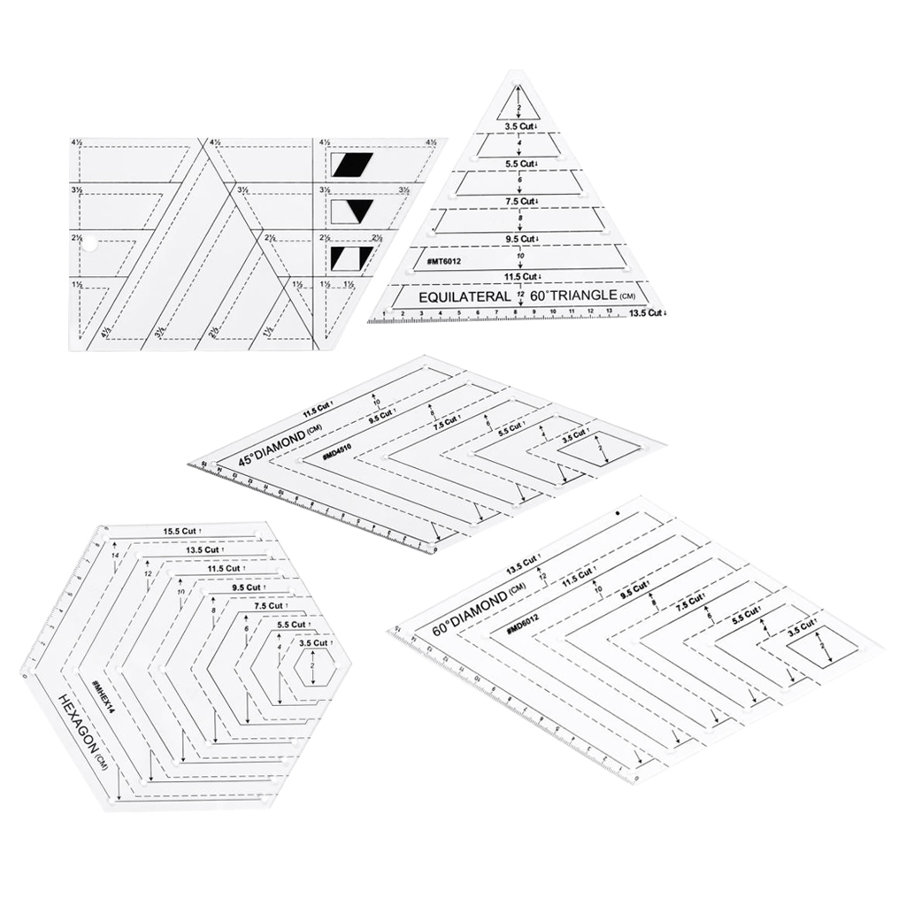5Pcs Acrylic Quilting Ruler Set Patchwork Template for