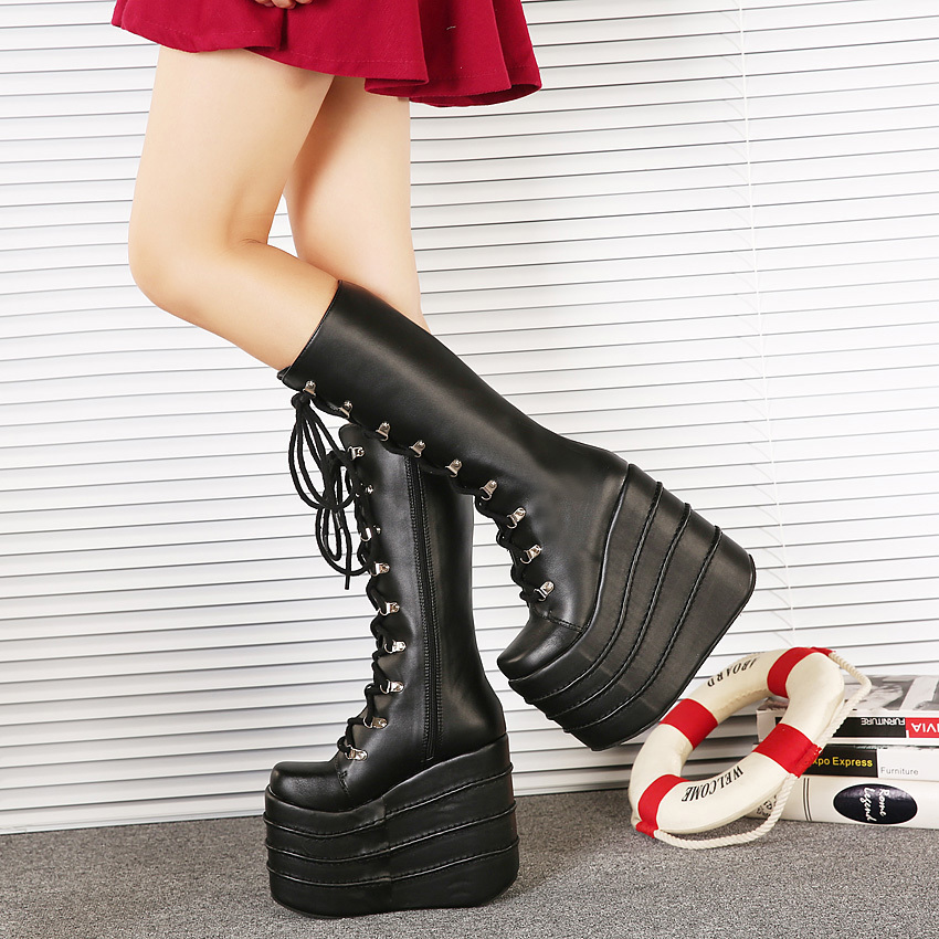 ФОТО Women Winter Boots Black Cosplay Boots Fashion Platform Wedge Knee High Boots For Women Punk Motorcycle Boots 16CM