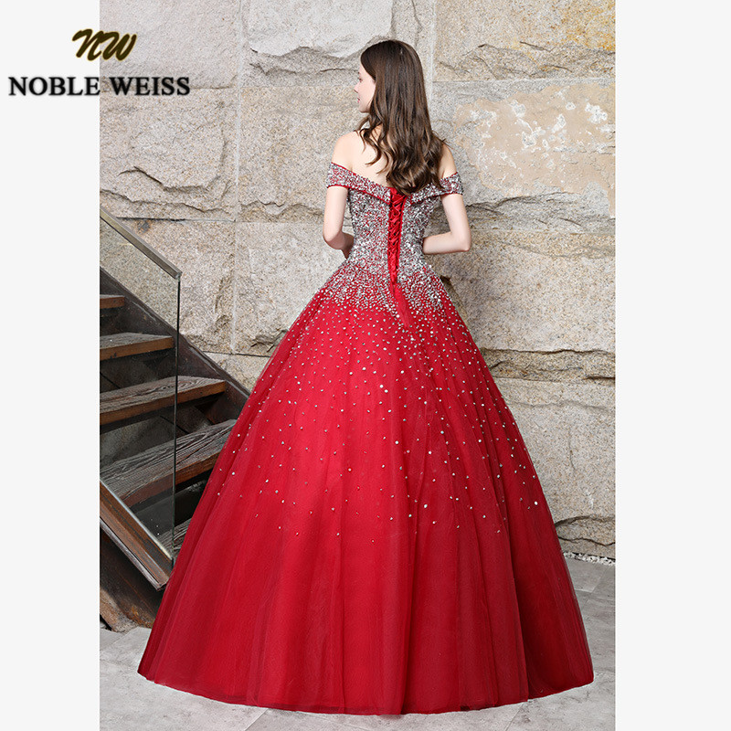 prom dresses red long ball gown prom dress heavy beaded lace-up women prom gown sleeveless tulle evening gowns puffy dress 3