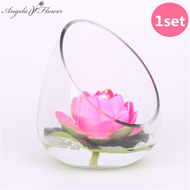 1set ( lotus + vase )EVA real touch flowers artificial flowers silk flower lotus with glass vase pond decorate home decoration-in Artificial \u0026 Dried Flowers ...  sc 1 st  AliExpress & 1set ( lotus + vase )EVA real touch flowers artificial flowers silk ...