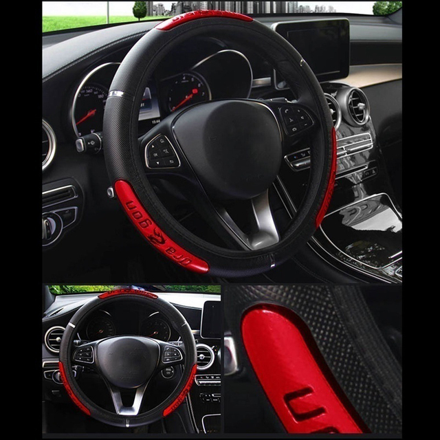 Busines نمط عجلة القيادة يغطي لينة الجلود جديلة على المقود من سيارة عاكسة بولي Leather الجلود الداخلية اكسسوارات