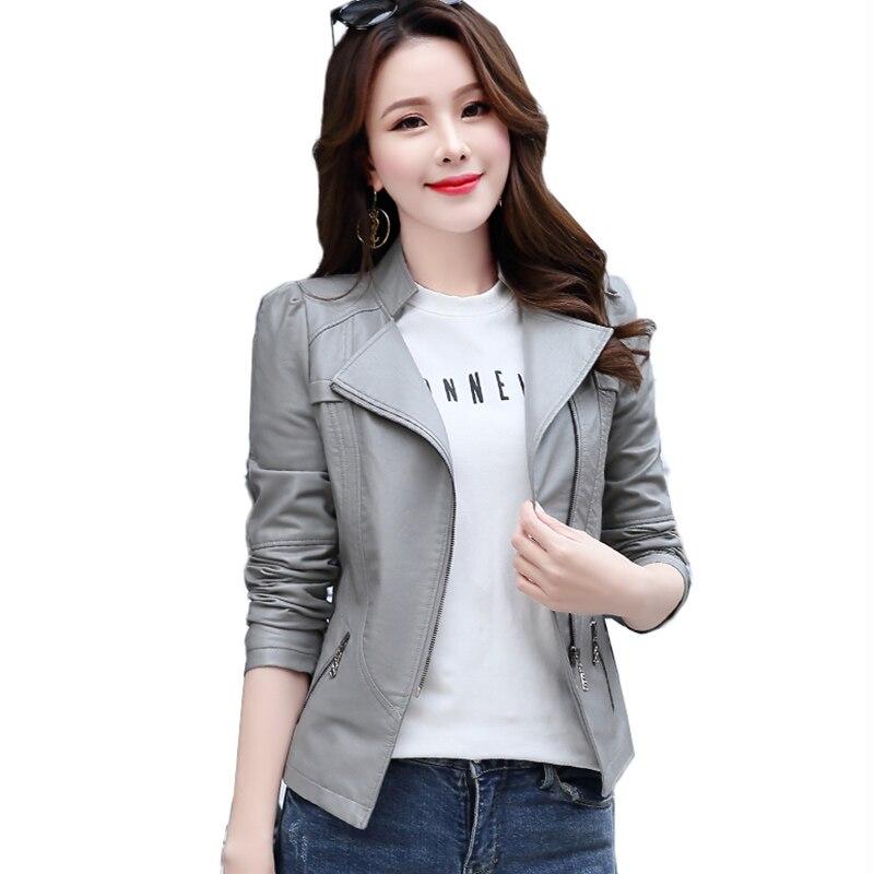 Women   Leather   Jacket Spring Autumn Clothes Korean Slim PU   Leather   Motorcycle Biker Jacket Short Outerwear Plus size 5XL 6XL Coat