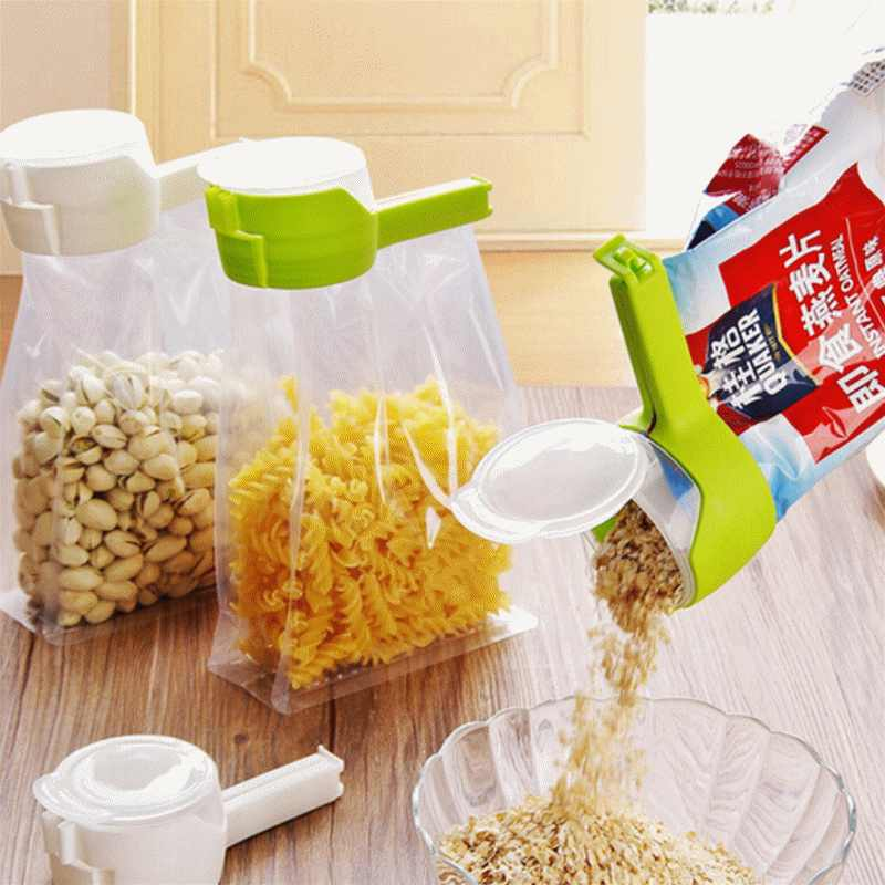 1 Seal Pour Food Storage Bag Clip Snack Sealing Clip Fresh Keeping Sealer Clamp Plastic Helper Food Saver Travel Kitchen Gadgets