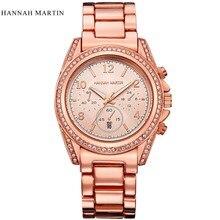 Hannah Martin Luxury Brand Watch Women Stainless Steel Diamond Quartz Watch relogio feminino Women Rose Gold Wristwatches Clock