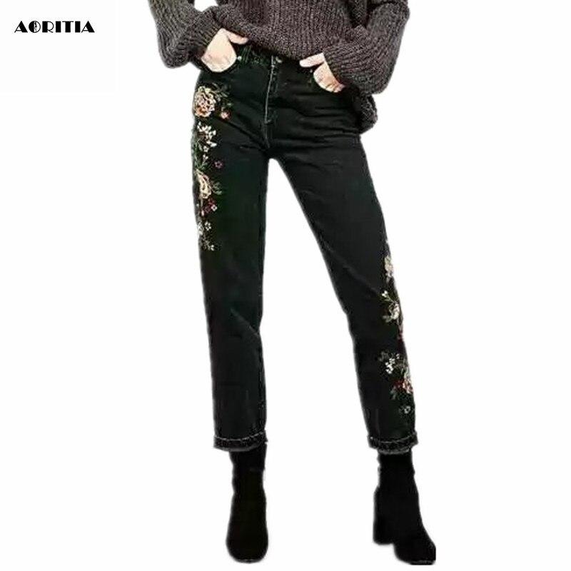 2017 Woman Denim Pencil Pants Embroidery Jeans Full Length Black High Waist