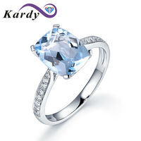 Blue Natural Aquamarine March Birthstone Engagement Wedding Gems 14K Solid White Gold Real Diamond Band Ring for Women