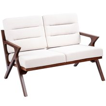 GIANTEX Modern Fabric Loveseat Armchair Upholstered Wooden Lounge Chair Living Room Chair Bedroom Furniture HW57458(China)