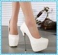 Para mujer tacones altos zapatos 2016 blanco bombas plataforma mujeres partido bombas de boda de tacón de aguja s zapatos de vestir C802
