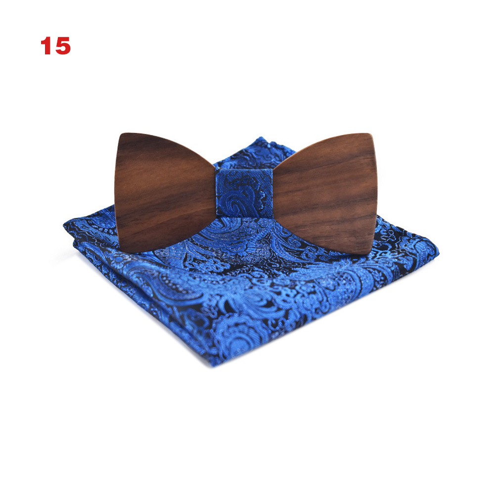 New Hot Men Handmade Wood Butterfly Bow Ties With Handkerchief British Party Wedding Business Accessories YAA99