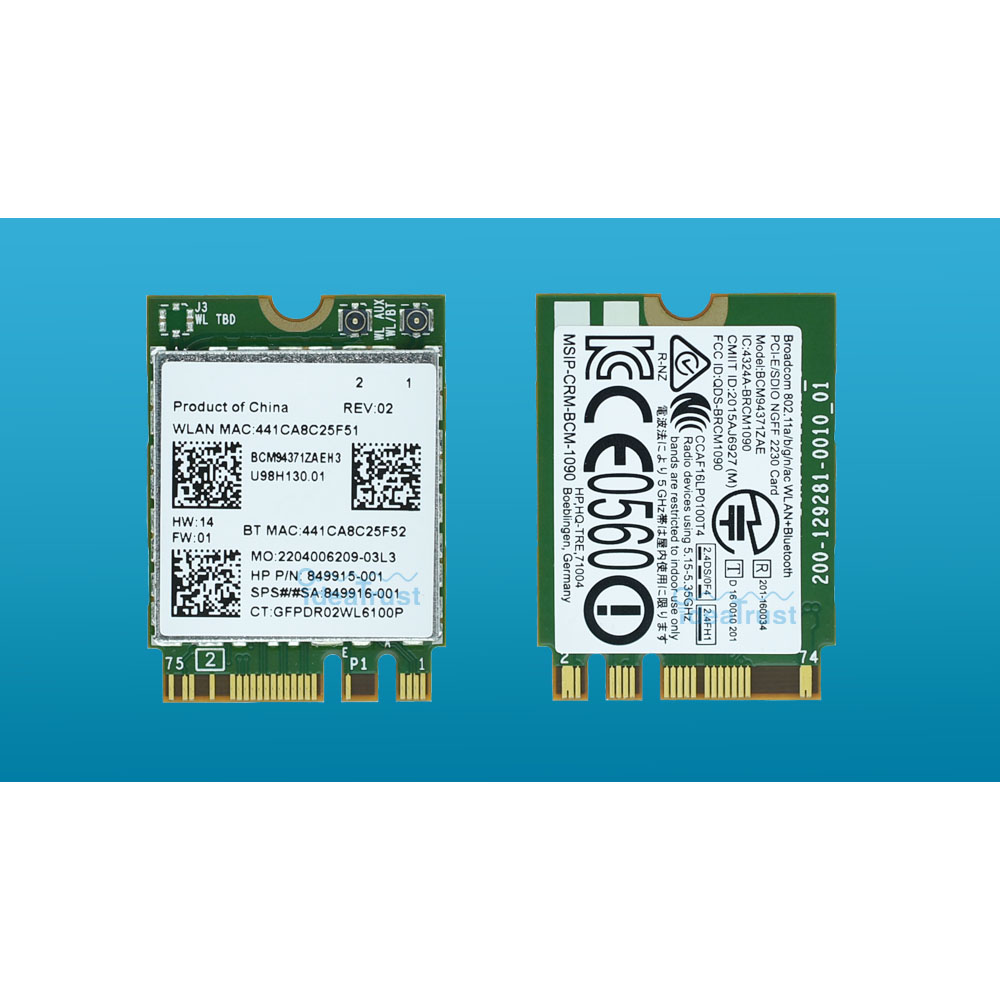 BCM94371ZAE 802.11ac SPS 849916-001 849915-001 BT4.1 867Mbps BCM94371 M2  NGFF WiFi Wireless Network Card PK BCM94352Z For HP