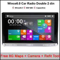 7 Inch Double 2 Din Car GPS Navigation Mp3 MP4 DVD Player BT Indash Radio Camera