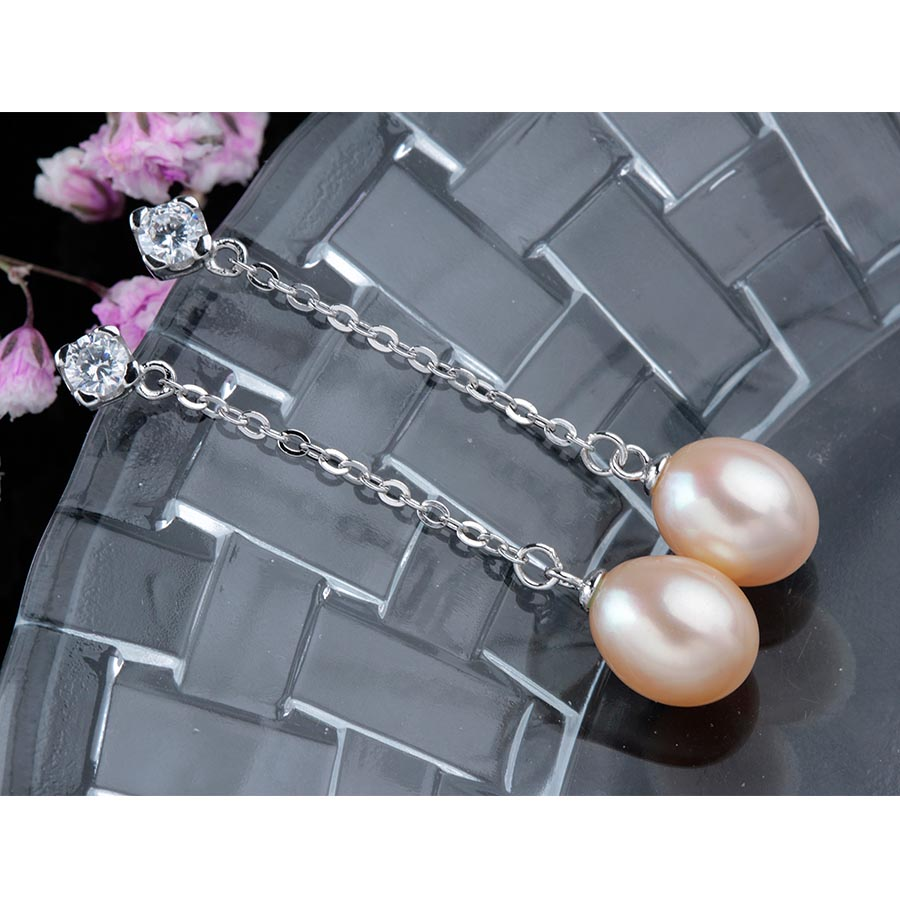 Fashion 925 Sterling Silver Long Earrings , Women Elegant Real Natural Pearl Drop Earrings , High Quality Anti Allergic Jewelry