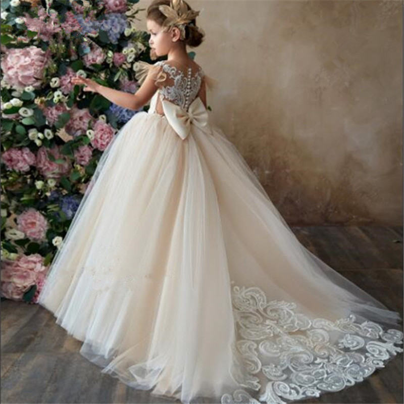 Vestido da menina de flor champagnetrailer inchado vestido de festa de casamento menina primeira comunhão eucaristia participou princesa rendas vestido de noite