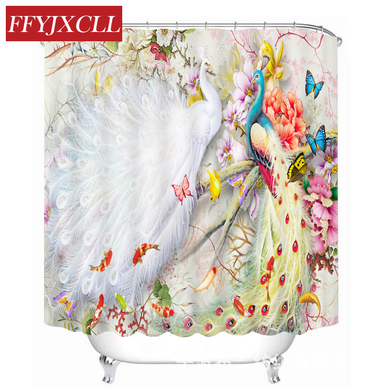 Pretty Peacock Butterfly Pattern Polyester Fabric Waterproof Shower Curtain Eco-Friendly Bathroom Curtain Home