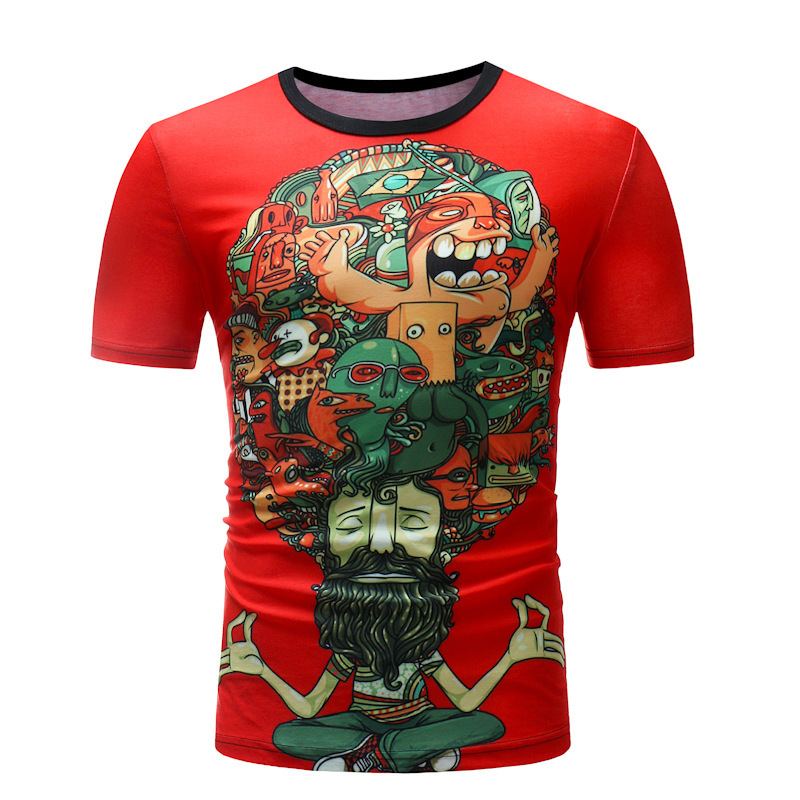 Men's Fashion tshirts men Short sleevePullover T-shirt Funny Printed Loose Tops Cotton Shirt slim fit male clothing brand