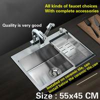 Free Shipping Fashion Kitchen Sink Durable 304 Stainless Steel Hand Made Single Slot Hot Sell 55x45